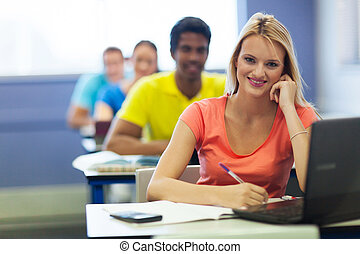 university students in lecture room - cheerful group of...