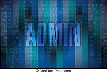 admin message illustration design over a binary background