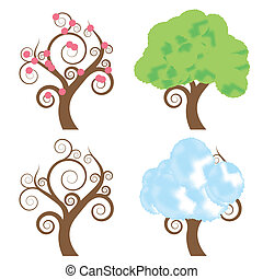 Tree vector set for poster