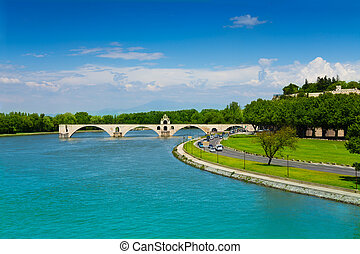 Partially ruined bridge in Avignon, France - Partially...