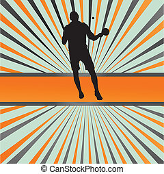 Table tennis player silhouette ping pong vector burst background for poster