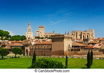 Avignon town in Provence province - Town walls of Avignon...