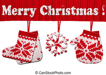 christmas symbol shapes cut from knitted pattern - christmas...