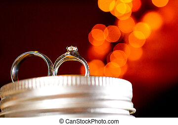 Wedding Rings at Reception - Wedding rings are placed on a...