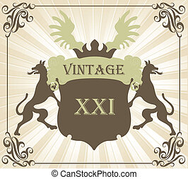 Coat of arms vintage vector background with animals