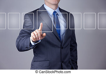 Businessman pushing touch screen - Businessman pushing on a...