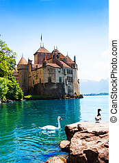 Chateau de Chillon and swans - Chillon castle view Geneva...
