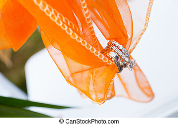 Wedding Rings and Fabric - Orange fabric holds these wedding...