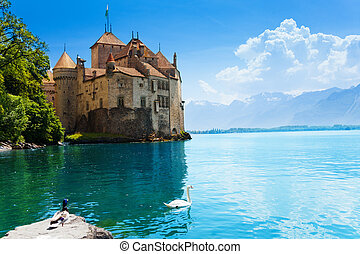 Chateau de Chillon panorama - Chateau de Chillon and waters...