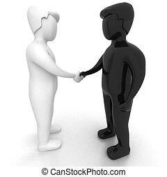 HANDSHAKE - 3D black and white people - corporate deal on...