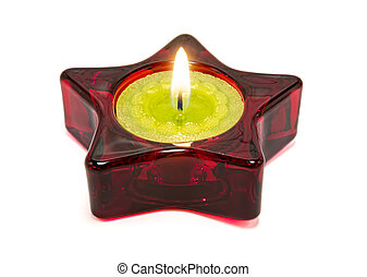 Nice green candle, inside a red sta