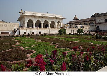 Courtyard at the Agra Fort - The red Agra Fort, home of the...