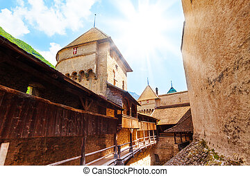 Chillon inner yard - Inner yard of Chillon castle with tower...
