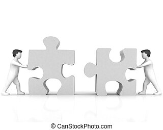 business concept of people with puzzle - 3D business concept...