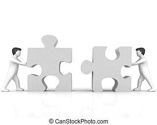 negócio, conceito, pessoas, Quebra-cabeça