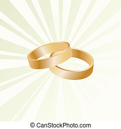 Couple of gold wedding rings vector background card