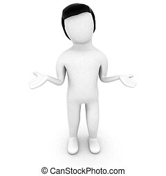 what can i do - 3D character with open palms against white...
