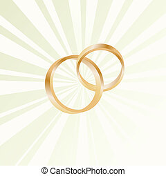 Couple of gold wedding rings vector background