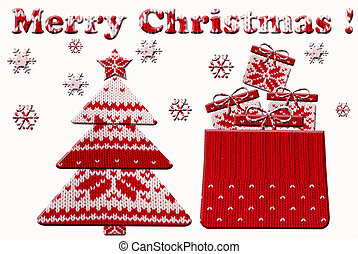 christmas tree and gift shapes cut from knitted pattern -...