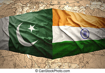 Pakistan and India - Waving Pakistani and Indian flags on...