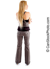 full back pose of blond female on an isolated background