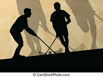 Floor ball players active sport silhouettes vector abstract...