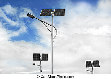solar powered street lights - group of solar powered street...