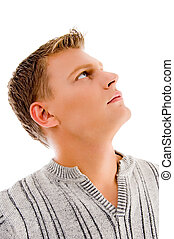 side pose of male face with white background