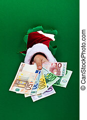 Financing the holidays - euro banknotes handed to you