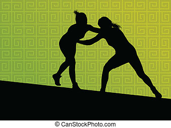Greek roman wrestling active young women sport silhouettes...