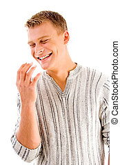 handsome male laughing on an isolated white background