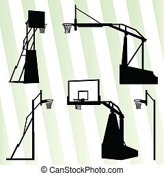 Basketball hoop vector background set concept for poster