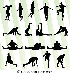 Man stretching exercise warming up vector background for...