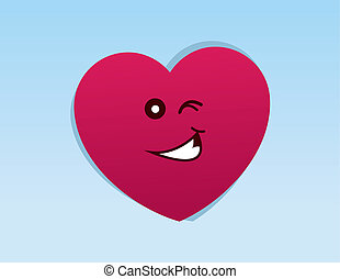 Heart Character Winking - Heart character with winking face...