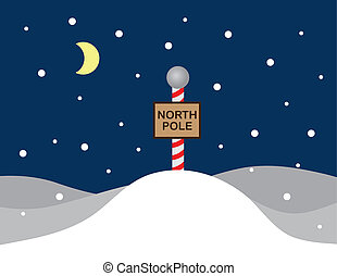 North Pole Sign - North pole snow scene with sign