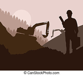 Construction site and engineer vector background for poster