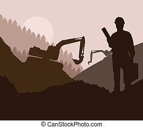 construction, site, ingénieur, vecteur, fond