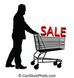 Big save in a shopping cart Concept of discount vector...