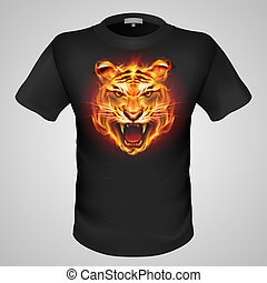 Male t-shirt with print - Black male t-shirt with fiery...