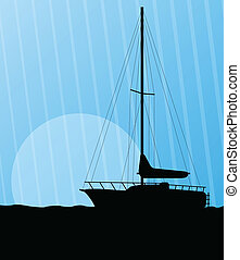 Yacht, boat sailing vector background