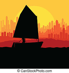 Yacht, boat sailing vector background for poster