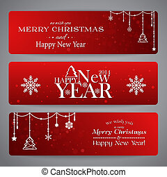 Merry Christmas banners with beads, stars and snowflakes