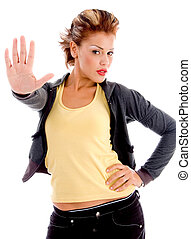 sexy woman stopping hand gesture on an isolated background
