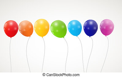 Color glossy rainbow balloons background vector illustration