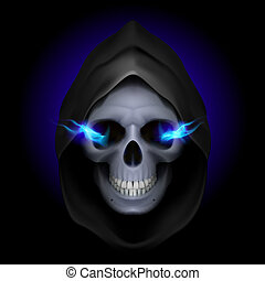 Death image. - Skull in black hood with blue fiery eyes as...