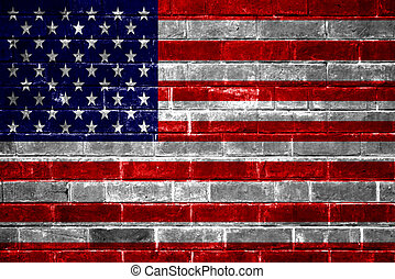 American Flag brick wall background