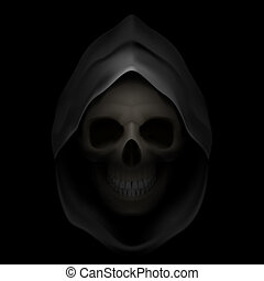 Death image - Skull in black hood as image of death Grim...