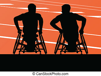 Active disabled men in a wheelchair detailed sport concept silhouette illustration background vector