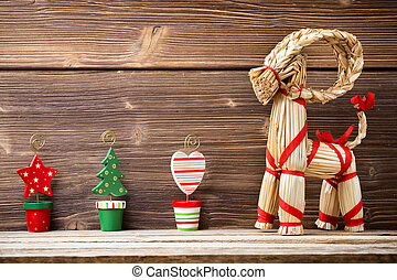 Christmas backgrounds Christmas decor on the wooden...
