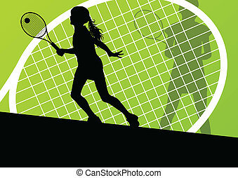 Tennis players detailed silhouettes vector background...